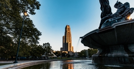 Frick Fine Arts Fountain with Cathedral of Learning in background